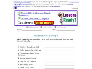 What Doesn't Belong? Worksheet