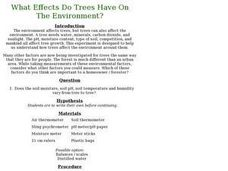 What Effects Do Trees Have On The Environment? Lesson Plan