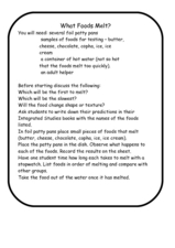 What Foods Melt? Worksheet