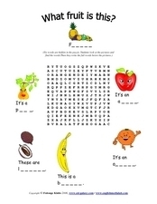 What Fruit Is This?  Word Search Worksheet