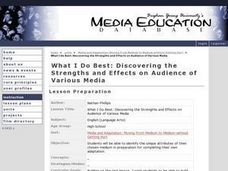 What I Do Best: Discovering the Strengths and Effects on Audience of Various Media Lesson Plan