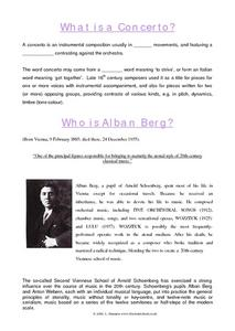 What is a Concerto?  Who is Alban Berg? Worksheet