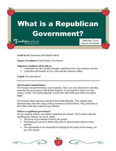What is a Republican Government? Lesson Plan