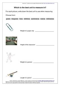 What Is the Best Unit to Measure In? Worksheet