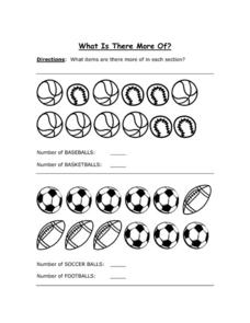 What is There More Of? Sports Balls Worksheet