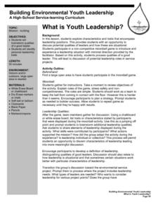 What is Youth Leadership? Lesson Plan