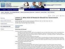What Kind Of Research Should Our Government Support? Lesson Plan