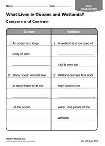 What Lives in Oceans and Wetlands? Worksheet