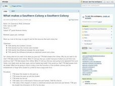 What makes a Southern Colony a Southern Colony Lesson Plan