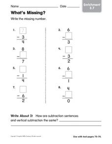 What's Missing Enrichment 3.7 Worksheet
