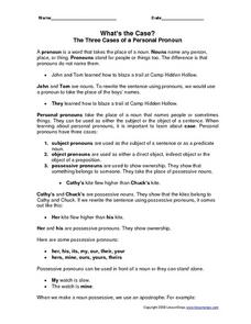What's the Case? - The Three Cases of a Personal Pronoun Worksheet