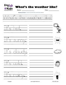 What's the Weather Like?  Practicing Sentences Worksheet