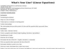 What's Your Line? (Linear Equations) Lesson Plan