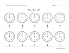 What Time is It?  Telling Time To the Hour Worksheet