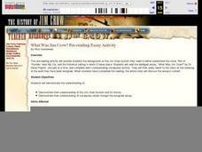 What Was Jim Crow? Pre-reading Essay Activity Lesson Plan