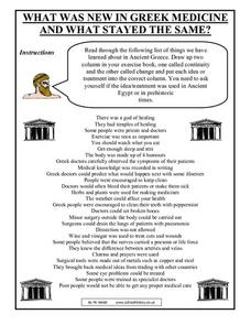 What Was New in Greek Medicine and What Stayed the Same? Worksheet