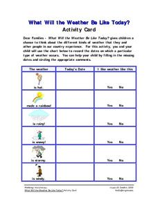 What Will the Weather Be Like Today? Activity Card Worksheet