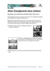 When Grandparents were Children Worksheet