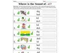 Where is the Sound of - d ? Worksheet