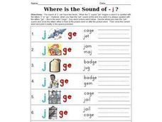Where is the Sound of - j ? Worksheet