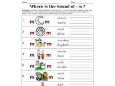 Where is the Sound Of - m ? Worksheet