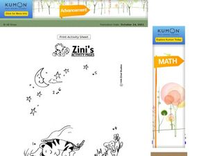 Where is Zini Sleeping Dot to Dot - Numbers 1-6 Worksheet