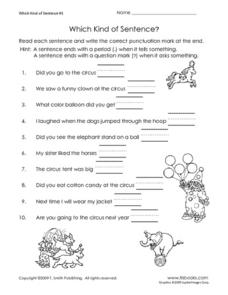 Which Kind of Sentence? Worksheet