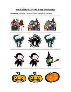 Which Pictures Are the Same (Halloween) ? Worksheet