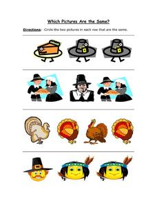 Which Pictures Are the Same? Thanksgiving Images Worksheet