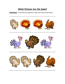 Which Pictures are the Same? Thanksgiving Turkeys Worksheet
