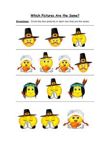 Which Pictures are the Same: Thanksgiving Worksheet