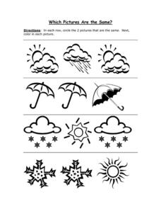 Which Pictures Are the Same? Weather Worksheet