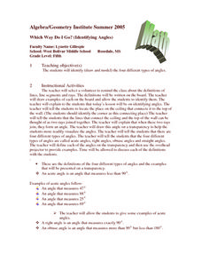 Which Way Do I Go? (Identifying Angles) Lesson Plan