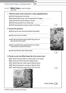 Worksheets White Fang 8th Grade white fang by jack london exit test 6th 8th grade worksheet worksheet