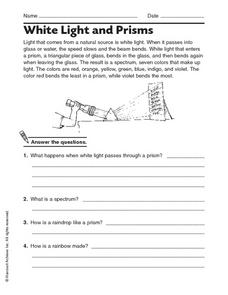 White Light and Prisms Worksheet