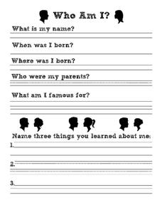 Who Am I? Worksheet
