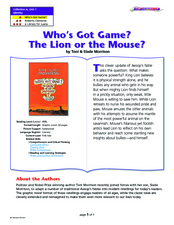 Who's Got Game? The Lion or the Mouse? Lesson Plan