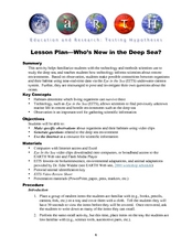 Who's New in the Deep Sea? Lesson Plan