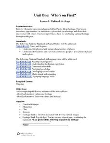 Who's on First? Cultural Heritage Lesson Plan