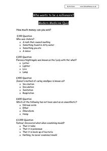 Who Wants To Be a Millionaire? Modern Medicine Quiz Worksheet