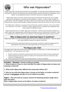 Who Was Hippocrates? Worksheet