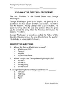 math worksheet : who was the first us president  reading comprehension 3rd grade  : Multiple Choice Reading Comprehension Worksheets