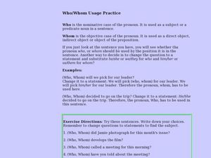 Who/Whom Usage Practice Lesson Plan