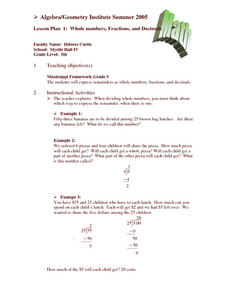 Whole Numbers, Fractions, and Decimals Lesson Plan