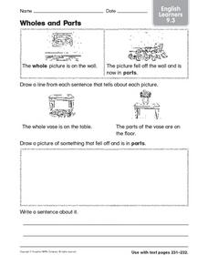 Wholes and Parts: English Learners Worksheet