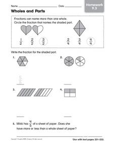 Wholes and Parts: Homework Worksheet