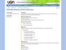 Why Behaviors Differ (Child Care) Lesson Plan