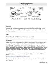 Why Do People Write About the Estuary? Lesson Plan