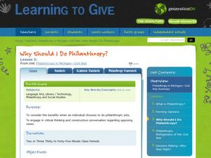 Why Should I Do Philanthropy? Lesson Plan
