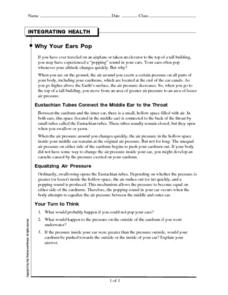 Why Your Ears Pop Worksheet